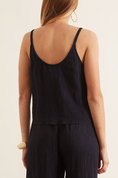 Pleated Rayon Little Cami in Navy