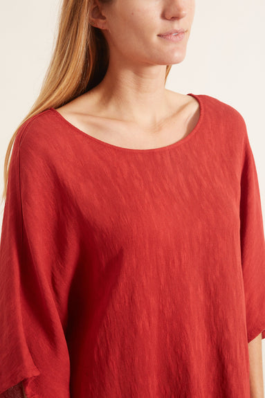 Pleated Rayon Oversized T-Shirt in Venetian Red
