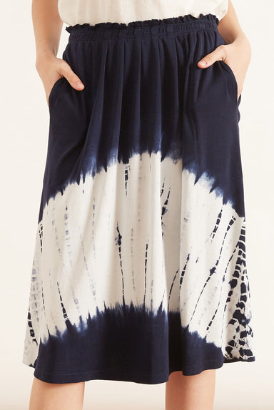 Rib Skirt in Indigo White Hilma Tie Dye