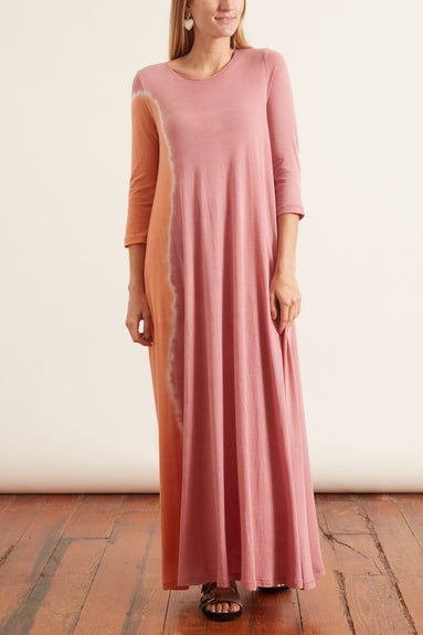 Signature Jersey Half Sleeve Drama Maxi Dress in Pink Sunrise Tie Dye