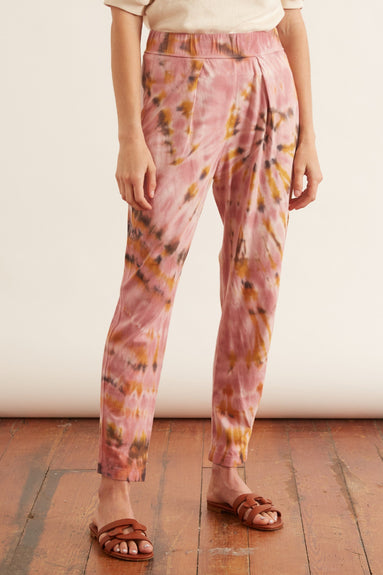 Sueded Baby Jersey Easy Pant in Pink Eclipse Tie Dye