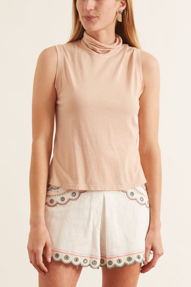 Sueded Baby Jersey Turtleneck in Blush