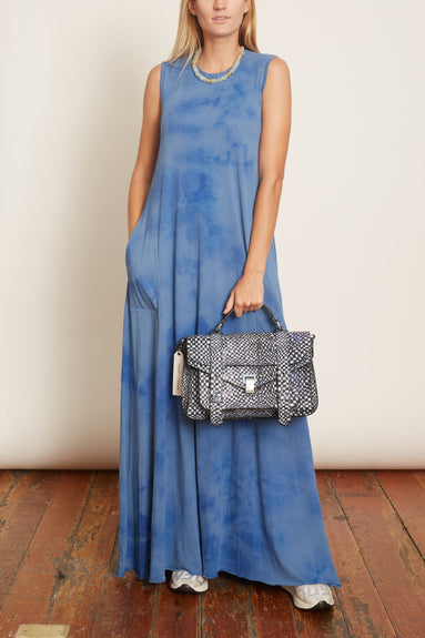 Sleeveless Drama Maxi Dress in Blue Tie Dye
