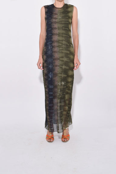 Bodycon Dress with Rib in Forest Camo Tie Dye
