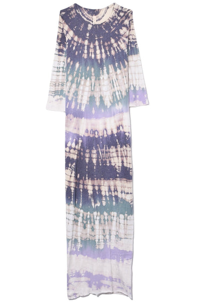 Half Sleeve Caftan Dress in Violet Tie Dye