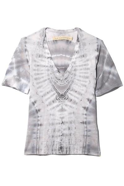 Jersey Boxy V-Neck Tee in Ice Tie Dye