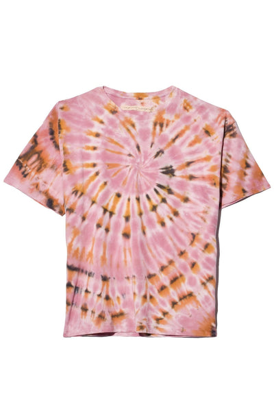 Sueded Baby Jersey Oversize Tee in Pink Eclipse Tie Dye