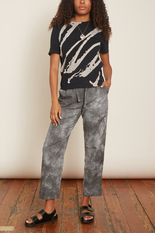 Drawstring Trouser in Black Tie Dye
