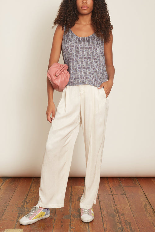 Pleated Pant in Dirty White