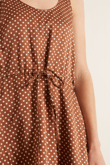 Tank Drawstring Dress in Brown Sand Polka Dot