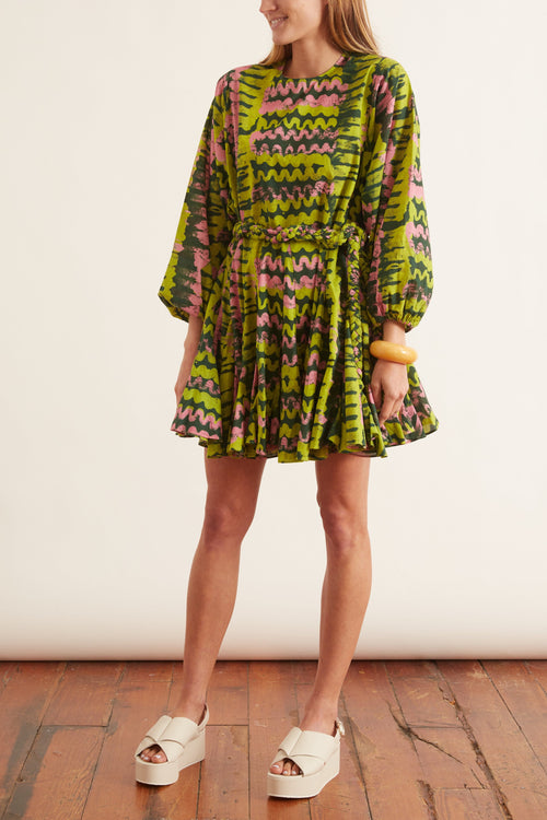 Ella Dress in Green Ripple
