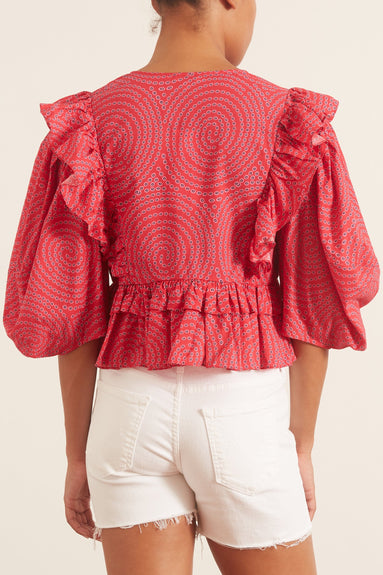 Elodie Top in Red Trail
