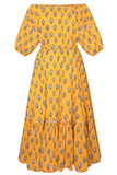 Frida Dress in Yellow Flower
