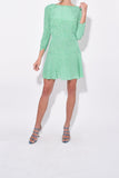 Kyla Dress in Retro Micro Floral/Green Blue