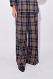 Gizella Check Pant in Dark Navy