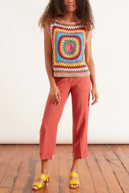 Patchwork Multicolor Sleeveless Top in Multicolor