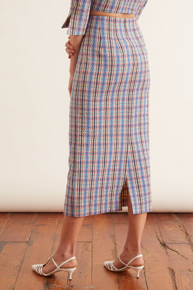 Button Down Pencil Skirt in Blue Plaid