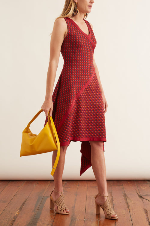 Bordered Scarf Jacquard Dress in Multi/Red