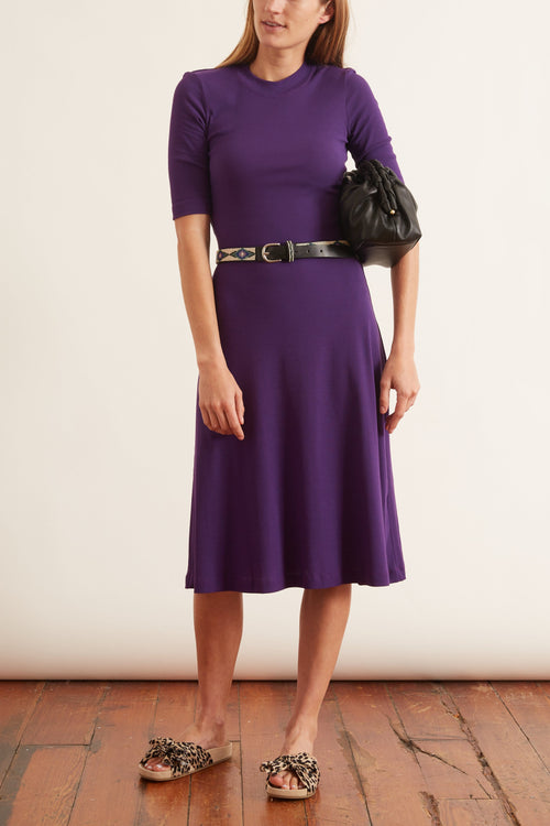 Cropped Sleeve T-Shirt Dress in Violet