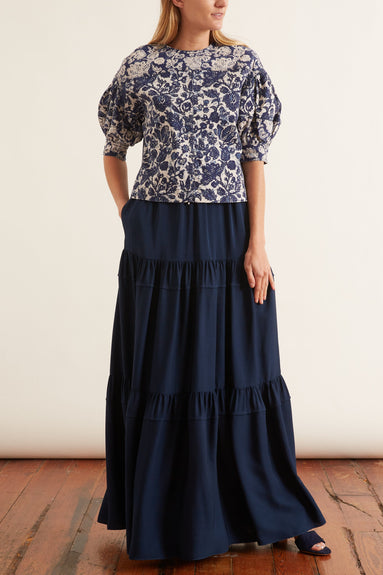 Tiered Ruffle Skirt in Navy