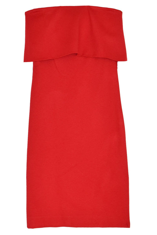 Banded Off The Shoulder Dress in Rouge