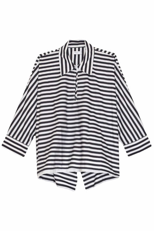 Cropped Caftan Shirt in Black/White