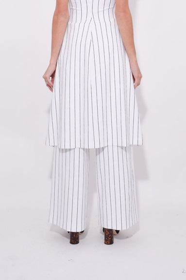 Cropped Straight Pant in White/Black