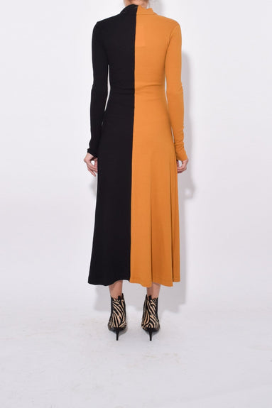 Long Sleeve Zip Up Turtleneck Dress in Ochre