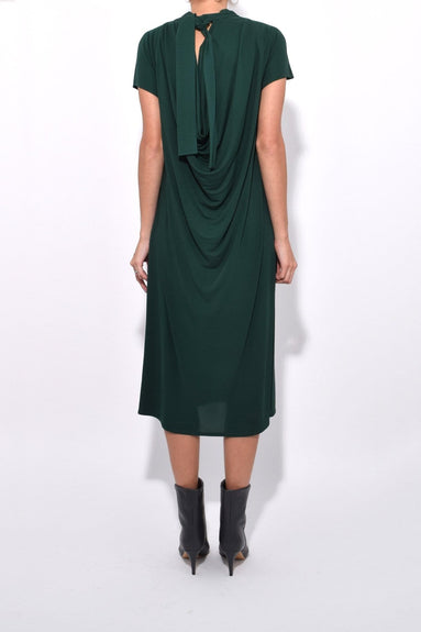 Tie Neck Drape Back Dress in Pine