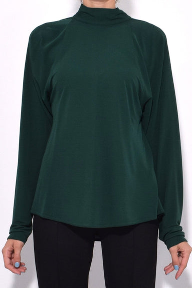 Tie Neck Drape Back Blouse in Pine