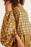 Balloon Sleeve Top in Orange Plaid