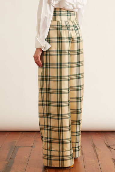 Corset Waist Trousers in Beige Green Plaid