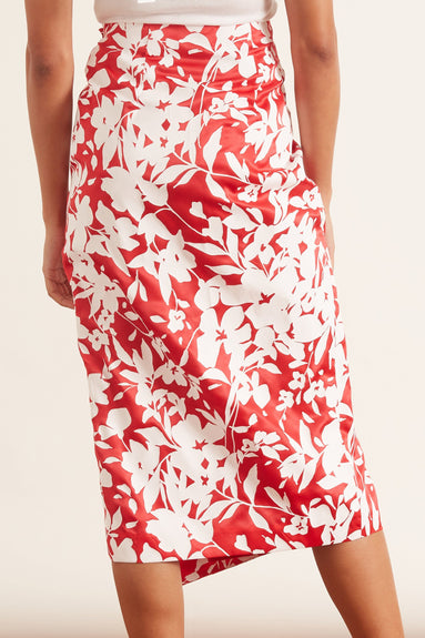 Drape Midi Skirt in Serrano Red