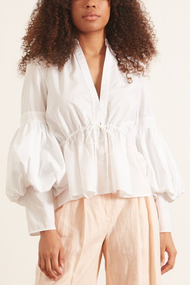 Lantern Sleeve Top in White