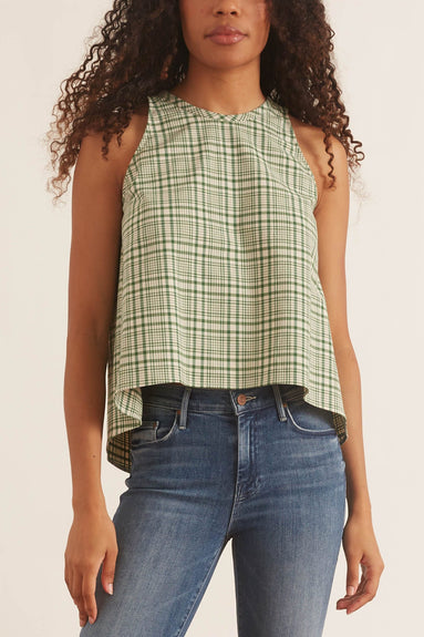 Party in the Back Tank in Green Plaid