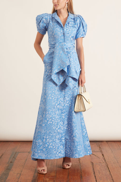 Puff Sleeve Dress in Delft Blue