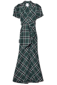 Puff Sleeve Dress in Dark Green Plaid