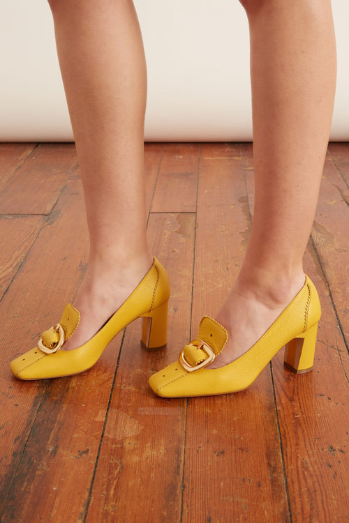 Marion Loafer Pump in Lemon Chiffon