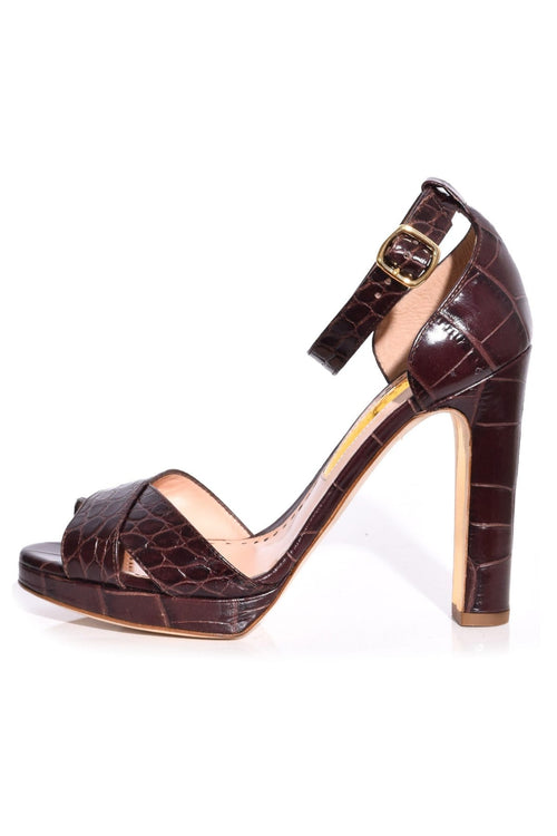 Meadow Printed Croc Heel in Pomegranate