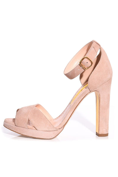 Meadow Suede Heel in Latte