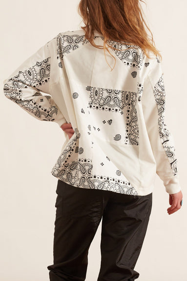 Archive Print Mix Blouson in White