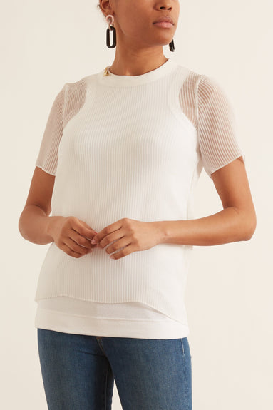 Chiffon x Cotton Jersey T-Shirt in White