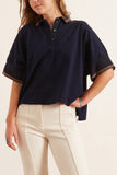 Cotton Jersey Polo Shirt in Navy