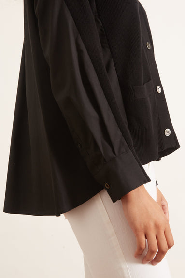 Cotton Knit Cardigan in Black/Black