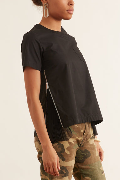 Cotton Poplin Pullover in Black