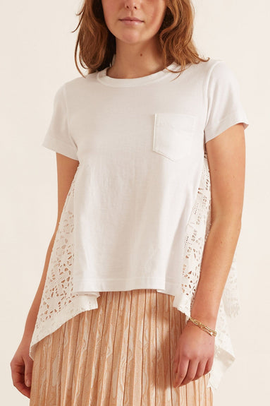 Embroidery Lace T-Shirt in White