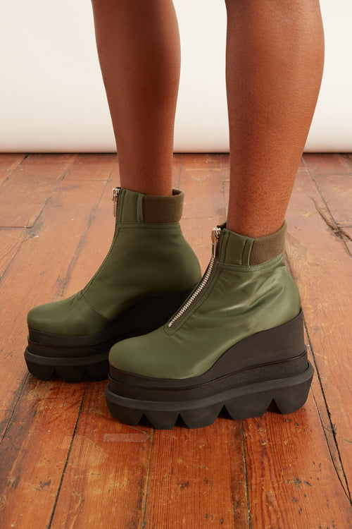 Nylon Twill Short Wedge Boots in Khaki