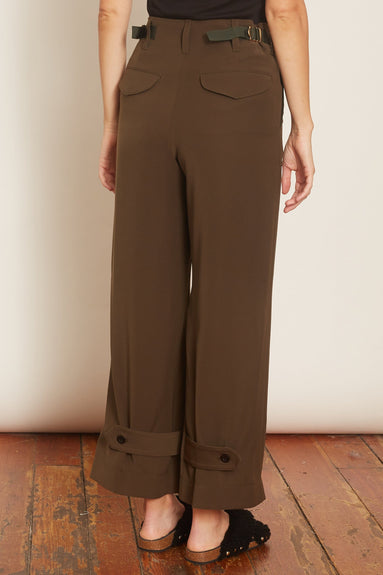 Solid Satin Pants in Khaki