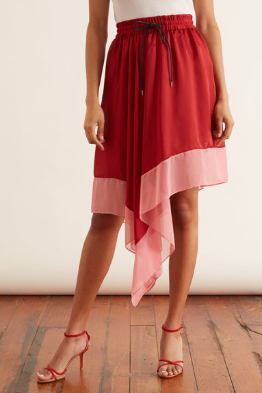 Solid Satin Skirt in Red/Pink
