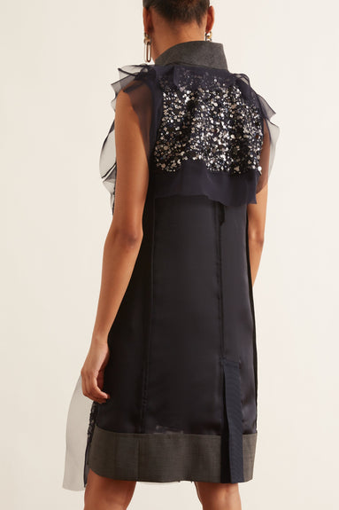 Spangle Embroidery Dress in Navy